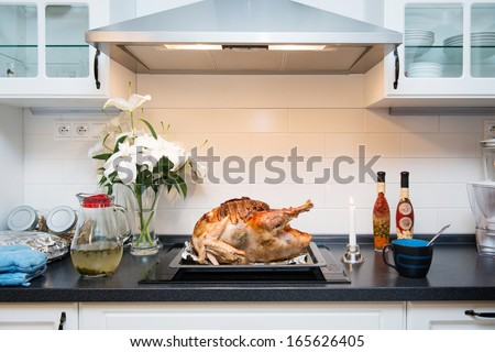 appetizing roasted turkey from the oven for thanksgiving day - stock photo