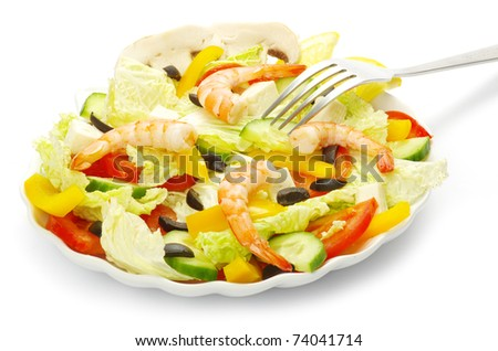 Appetizing salad on white background