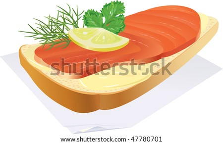 Appetizing sandwich with fish and a lemon, on a napkin. - stock photo