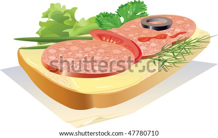 Appetizing sandwich with sausage, on a napkin. - stock photo