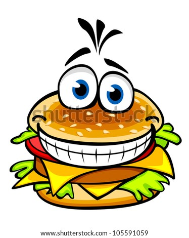 Appetizing smiling hamburger in cartoon style for fast food design, such logo. Vector version also available in gallery - stock photo