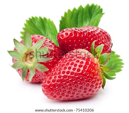 Appetizing strawberries with leaves. Isolated on a white background. - stock photo