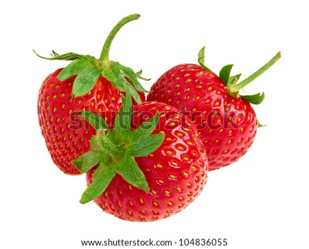 Appetizing strawberry. Isolated on a white background - stock photo