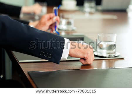 Applause for a business presentation in meeting; it was successful - stock photo
