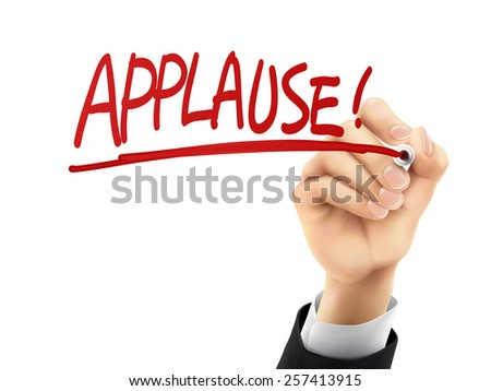 applause word written by hand on a transparent board - stock photo
