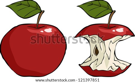 Apple and apple core cartoon raster version - stock photo