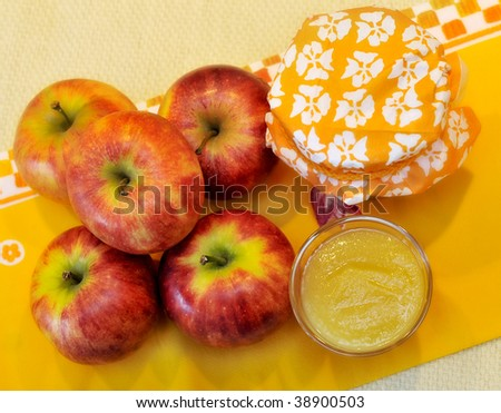 Apple and apple puree - stock photo