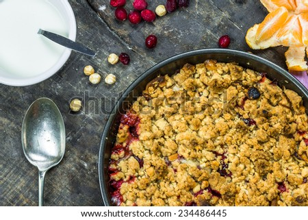 Apple and cranberry crumble - stock photo