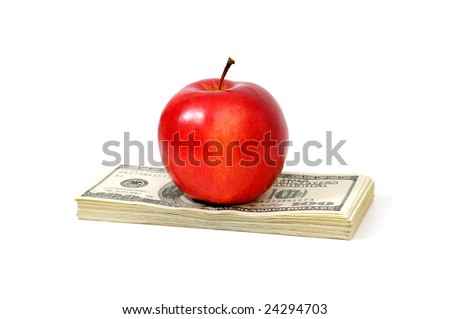 apple and dollars isolated on a white background - stock photo