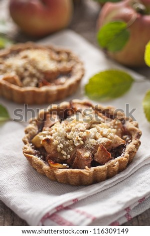 Apple and grape tart on old wood table - stock photo