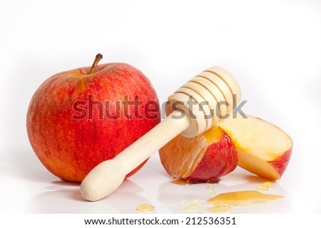 Apple and honey for Rosh Hashana jewish new year - stock photo