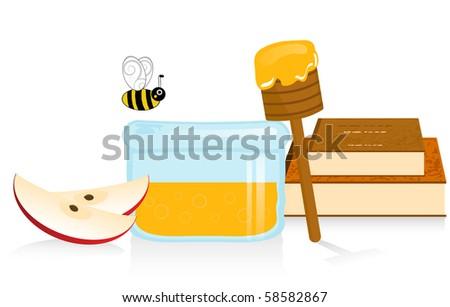 Apple and Honey Illustration - Rosh Hashanah symbols - stock photo