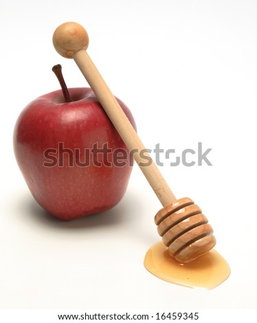 Apple and honey, isolated - stock photo