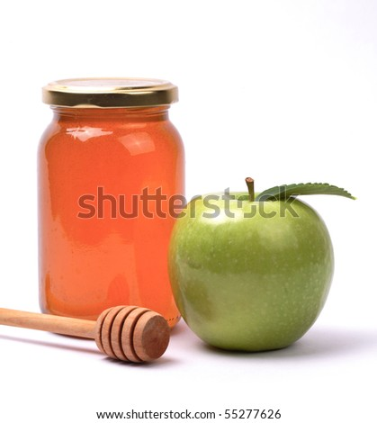 Apple and honey, isolated. A snack eaten by jews in the holiday of Rosh Hashana - stock photo