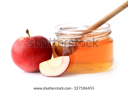 apple and honey isolated on white background
