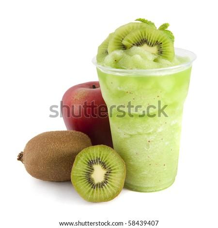 apple and kiwi smoothie on white - stock photo
