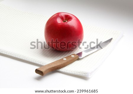 apple and knife - stock photo