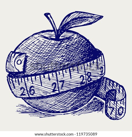 Apple and measure tape. Doodle style. Raster version - stock photo