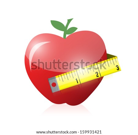 apple and measure tape illustration design over white - stock photo