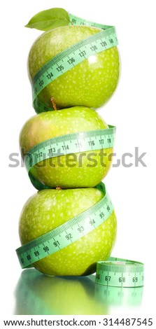 Apple and measurement.  - stock photo
