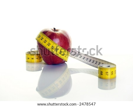 Apple and measuring tape(32 cm)