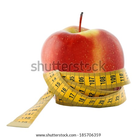 Apple and measuring tape - diet symbol isolated on white background