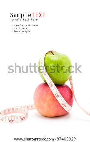apple and measuring tape isolated on white - stock photo