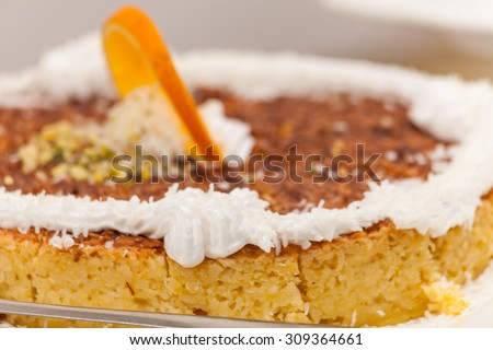 Apple and Orange Cake:An delicious apple and orange zest cake.In Amman,Jordan on May 2015 - stock photo