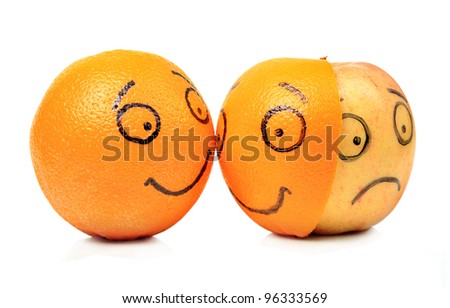 Apple and Orange emotions on white background - stock photo