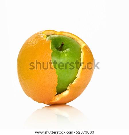 Apple and orange hybrid. On a white background the isolated - stock photo