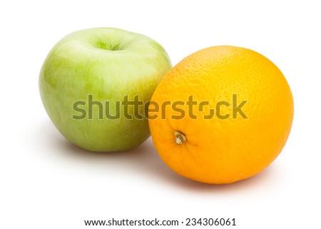 apple and orange isolated - stock photo