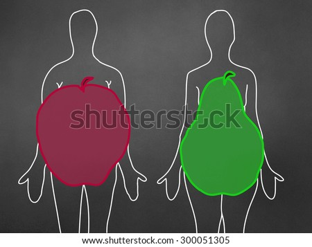 Apple and pear body shape - concept - stock photo