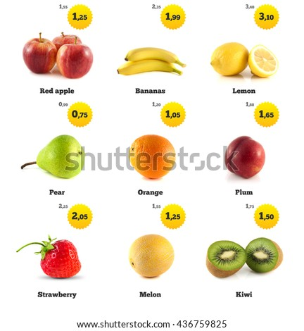Apple, banana and lemon. Kiwi, strawberry and pear. Melon galia, plum and orange isolated. Fresh natural strawberry. Health organic strawberry. Food with price tags on white. Fresh tasty strawberry. - stock photo