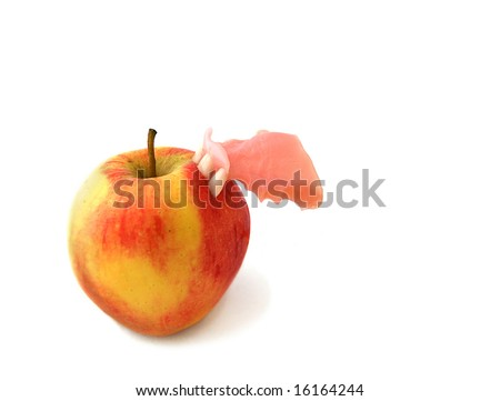 Apple Bites Back with front Teeth of Dentures a fun concept for oral health and hygiene - stock photo