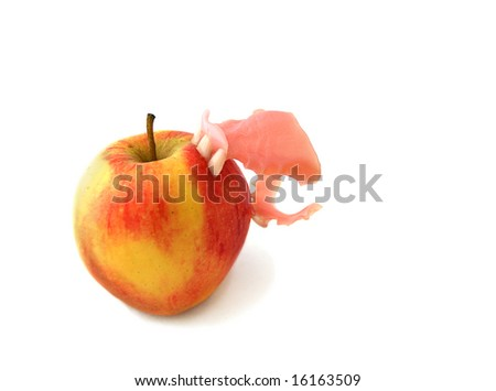 Apple Bites back with stuck set of Dentures top front teeth and two bottom teeth - stock photo