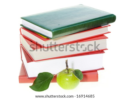 Apple, books - stock photo
