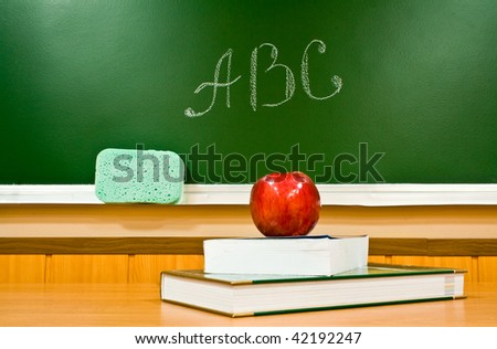 apple, books and letters - stock photo