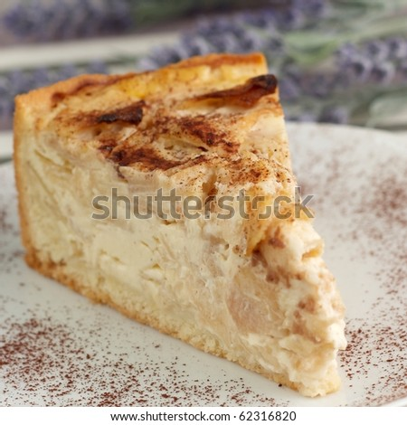 apple cake of  a white plate with chocolate - stock photo