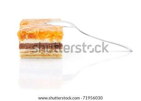 Apple cake with a spoon isolated on white background - stock photo
