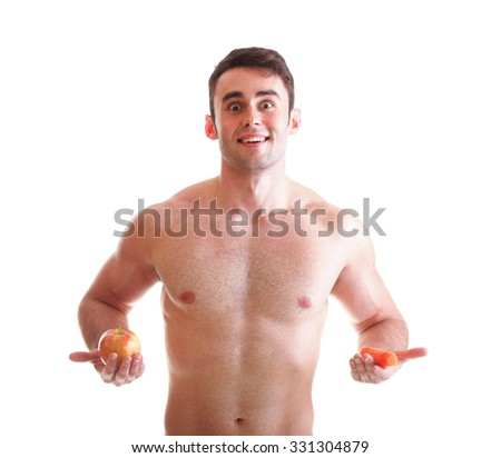 Apple carrot diet, man great body isolated on white - stock photo
