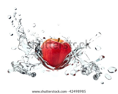 Apple causing water splash - stock photo