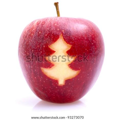 Apple - Christmas tree - stock photo