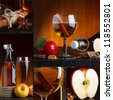 Apple cider beautiful collage - stock photo
