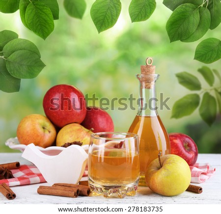 Apple cider in bottle with cinnamon sticks and fresh apples on nature background - stock photo