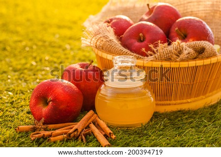 Apple cider vinegar,Healthy drink - stock photo