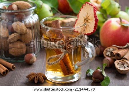 apple cider with spices in glass mug, close-up - stock photo