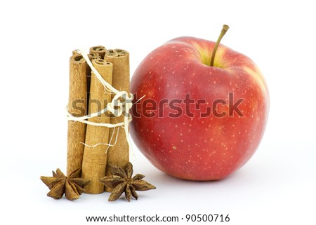 apple, cinnamon sticks and anise