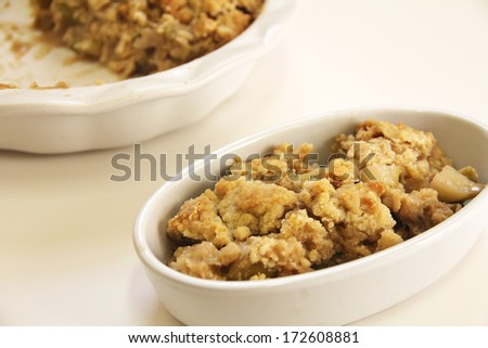 Apple Cobbler Crisp Dish - stock photo