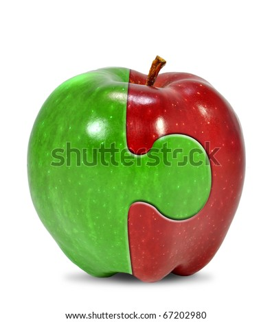 apple collage isolated on white - stock photo