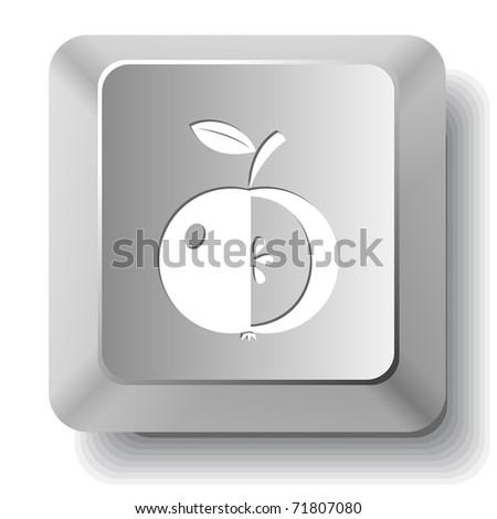 Apple. Computer key. Raster illustration. - stock photo